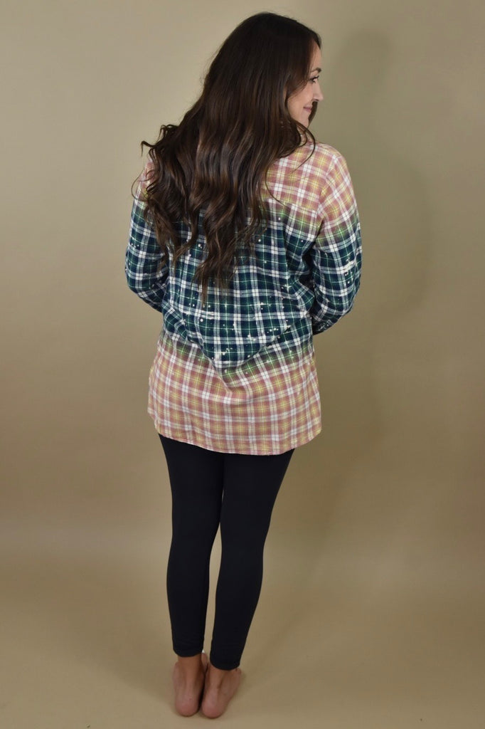 Green & Rust Ombre Bleached Flannel