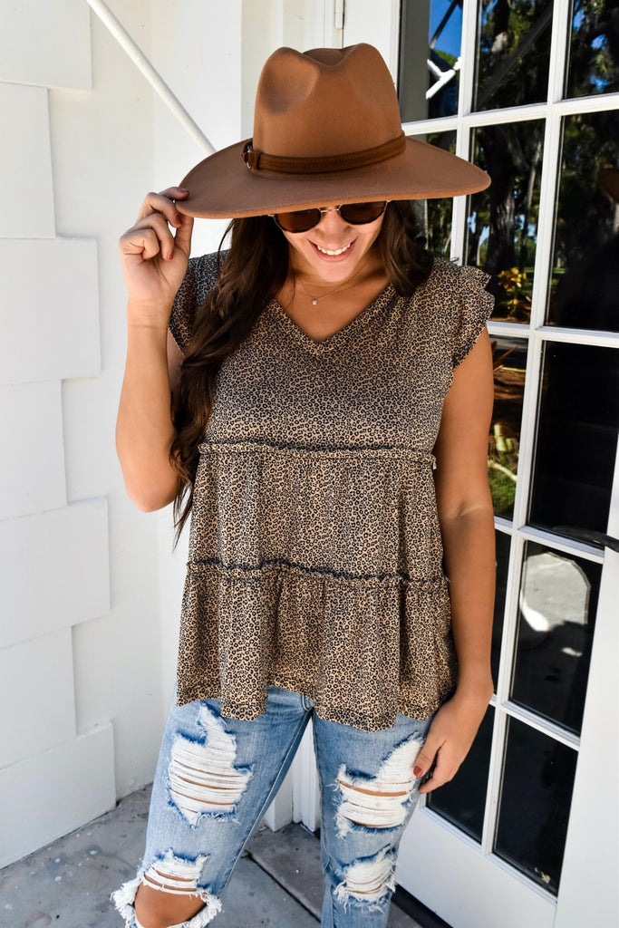 Meet Your Match Leopard Top- Taupe