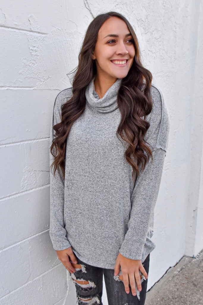 Clara's Turtleneck Top- Grey