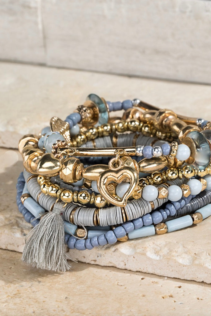 Grey & Gold Bracelet *Stack of 12* - Vogue Society