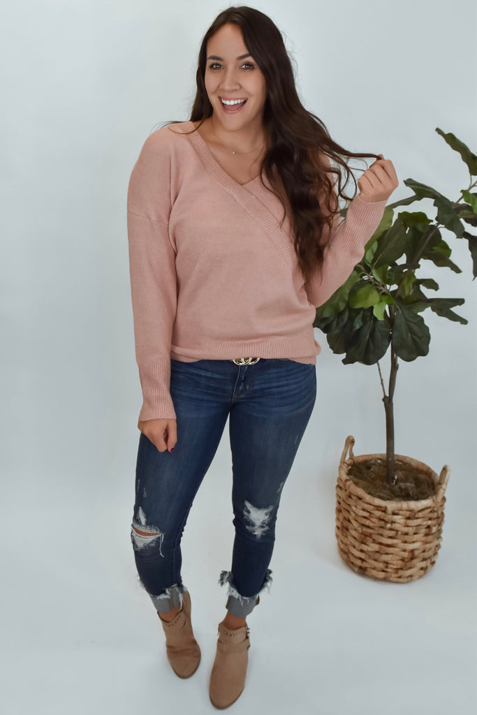 Dusty Pink Crossover Lightweight Sweater