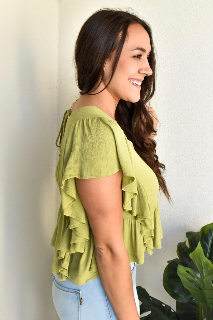 Chile Lime Ruffle Top