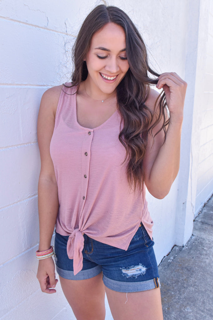 Lover's Button Down Knit Tank- Rose