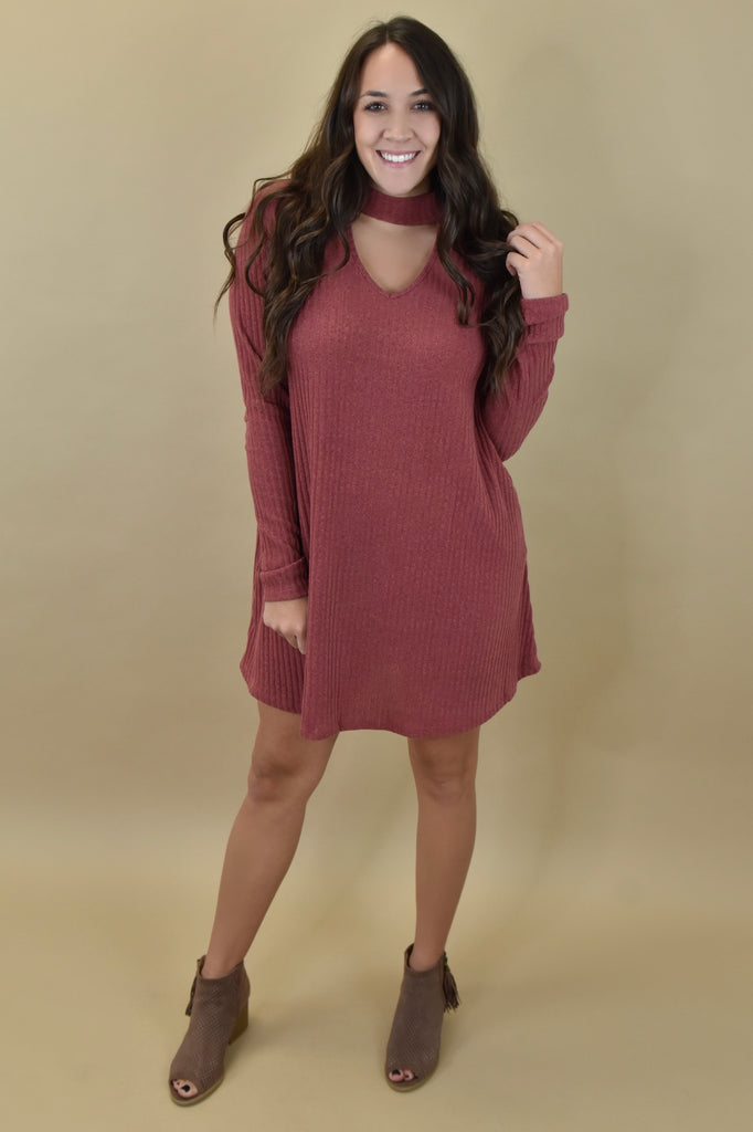 Sweater Dresses with Choker Detail- Rust