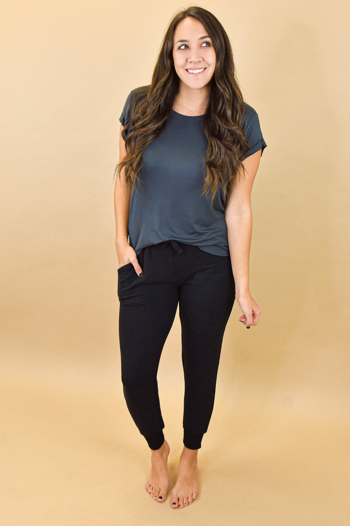 Athleisure Charcoal Round Neck Tee