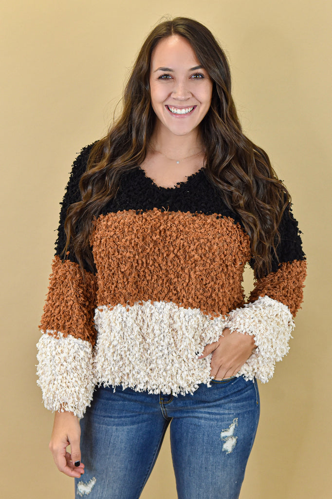 Warm & Fuzzy Color Block Sweater