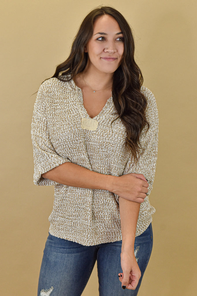 Lightweight Oatmeal Half Sleeve Sweater