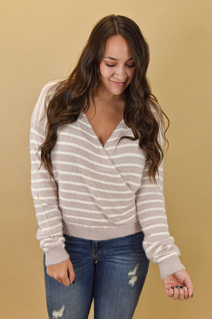 Emerson Eyelash Crossover Sweater-Mauve