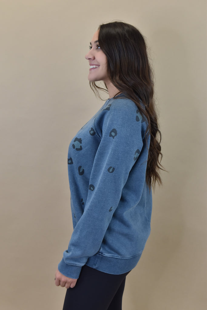 Dusty Teal Leopard Pullover