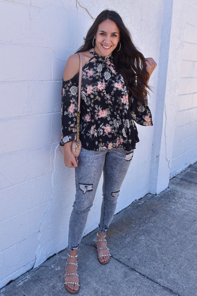Peonies Pleated Floral Cutout Blouse