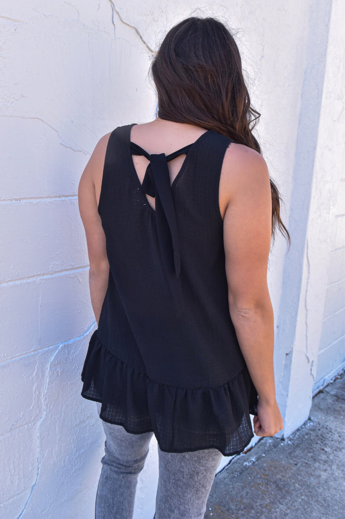 Feeling Free Black Embroidered Tank