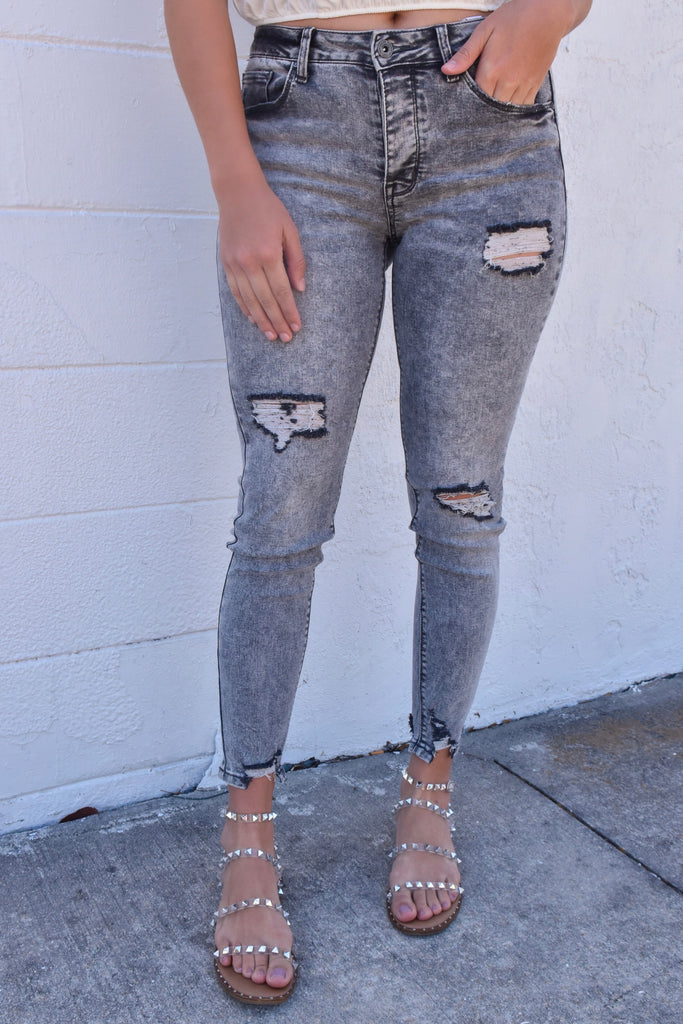Blake Distressed Black Acid Wash Jeans