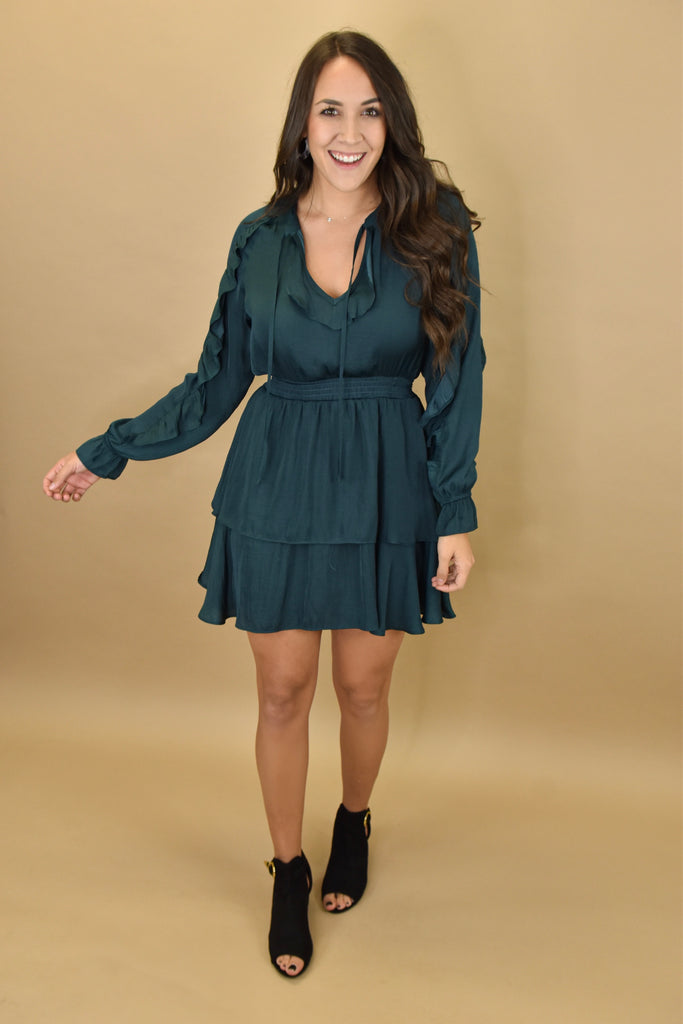 Holiday in The Hills Hunter Green Dress