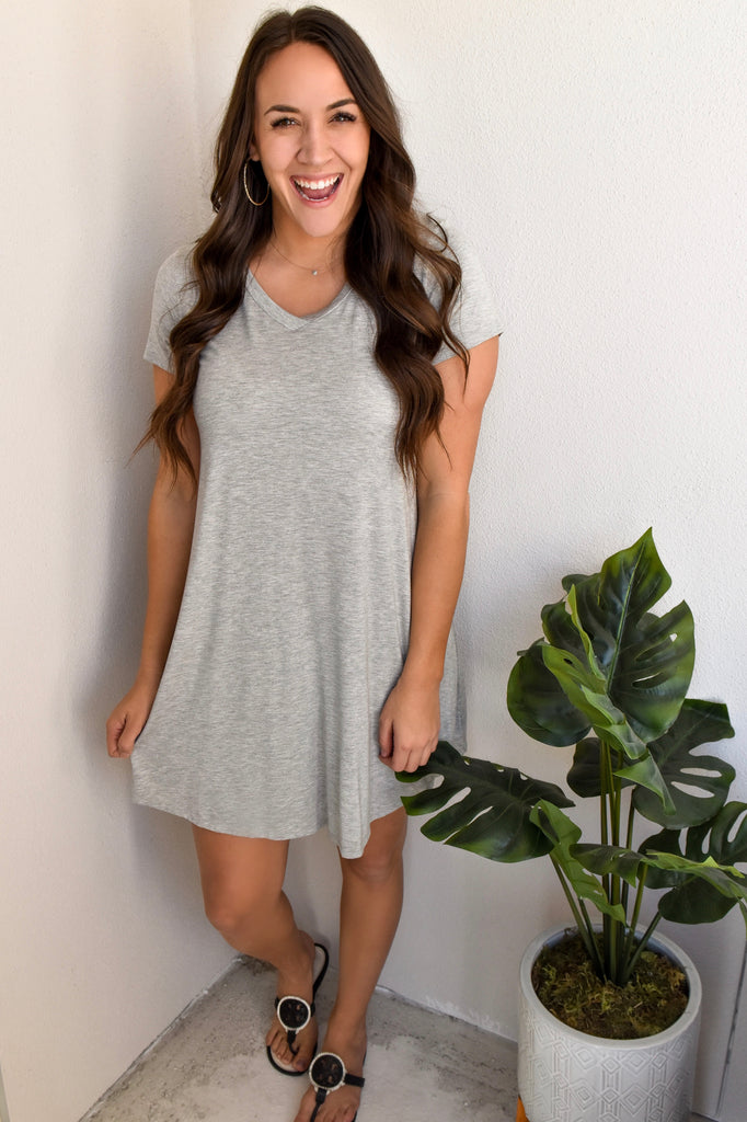 Best T-Shirt Dress Ever- Grey