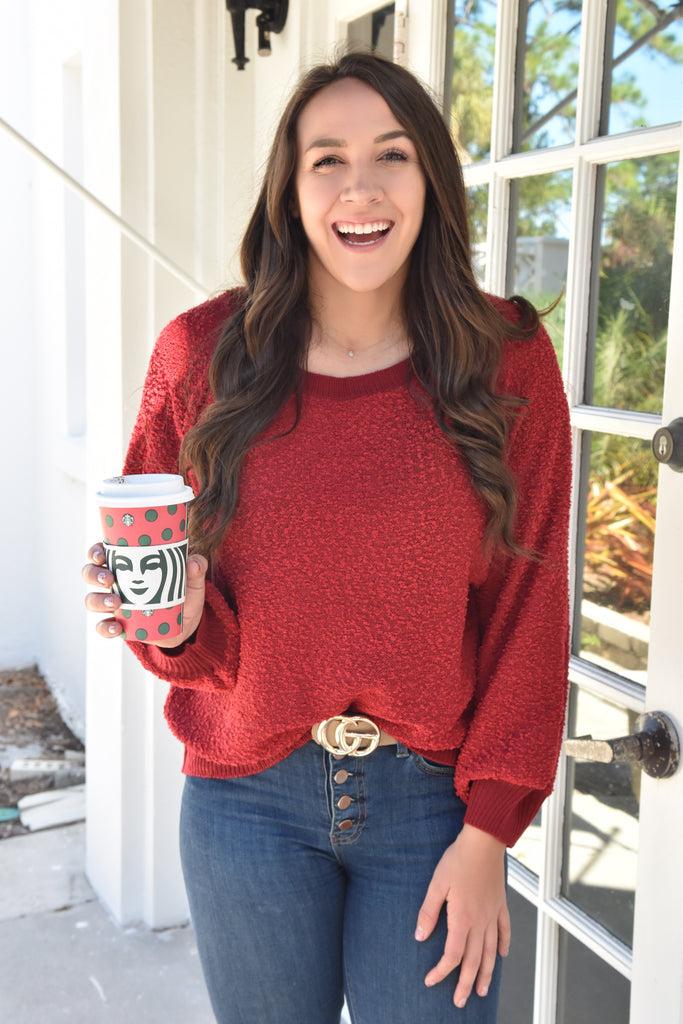 The Inside Out Sweater- Cherry Red