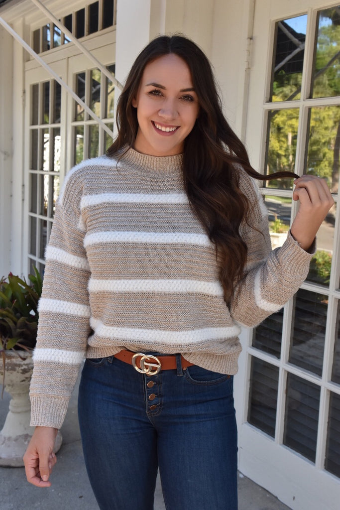 Soft As Snow Striped Sweater- Taupe
