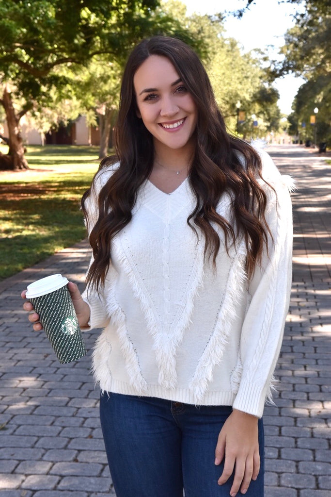 White Blizzard Fringe Sweater