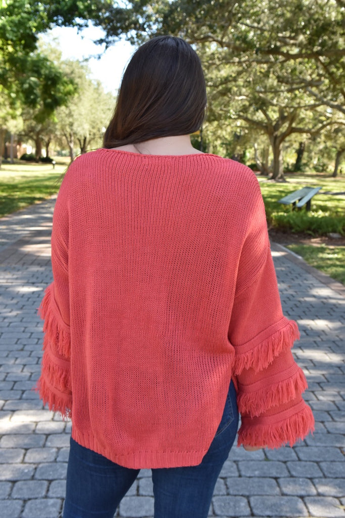 December Skies Sweater- Coral