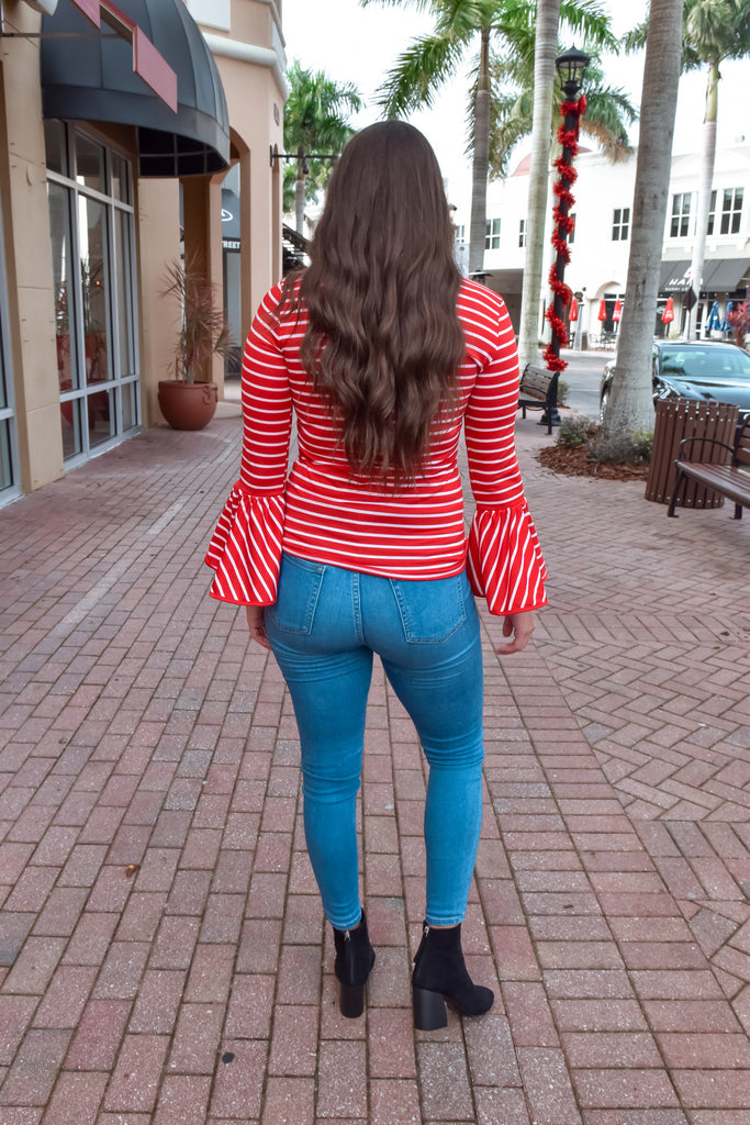 She's Famous Red Striped Bell Sleeve