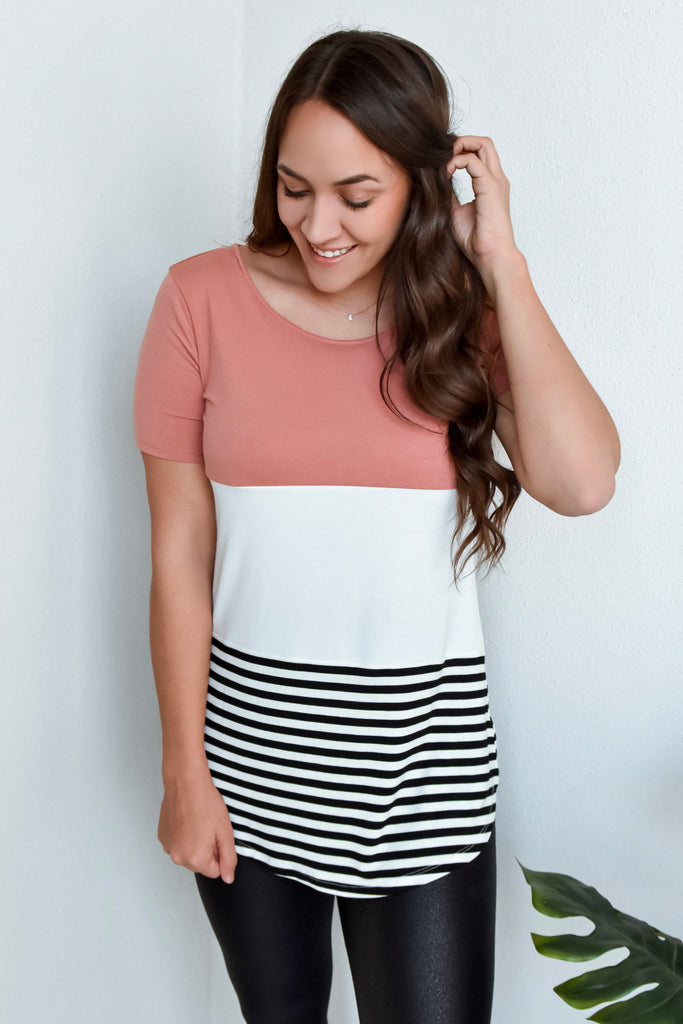 Striped Color Block Short Sleeve Tee- Rose