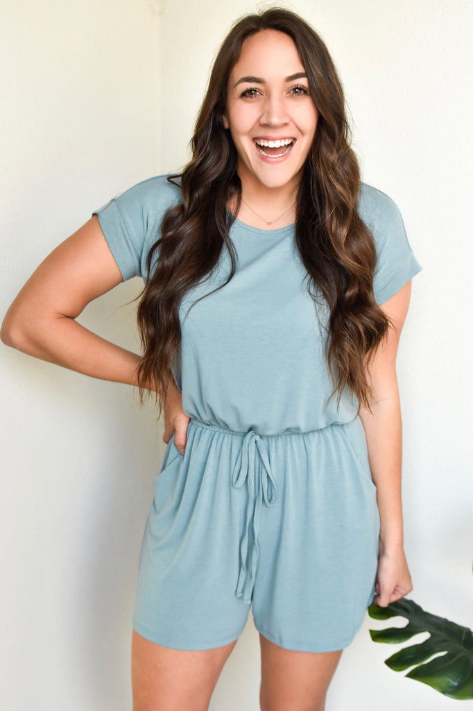 The Basic Babe Romper- Light Blue