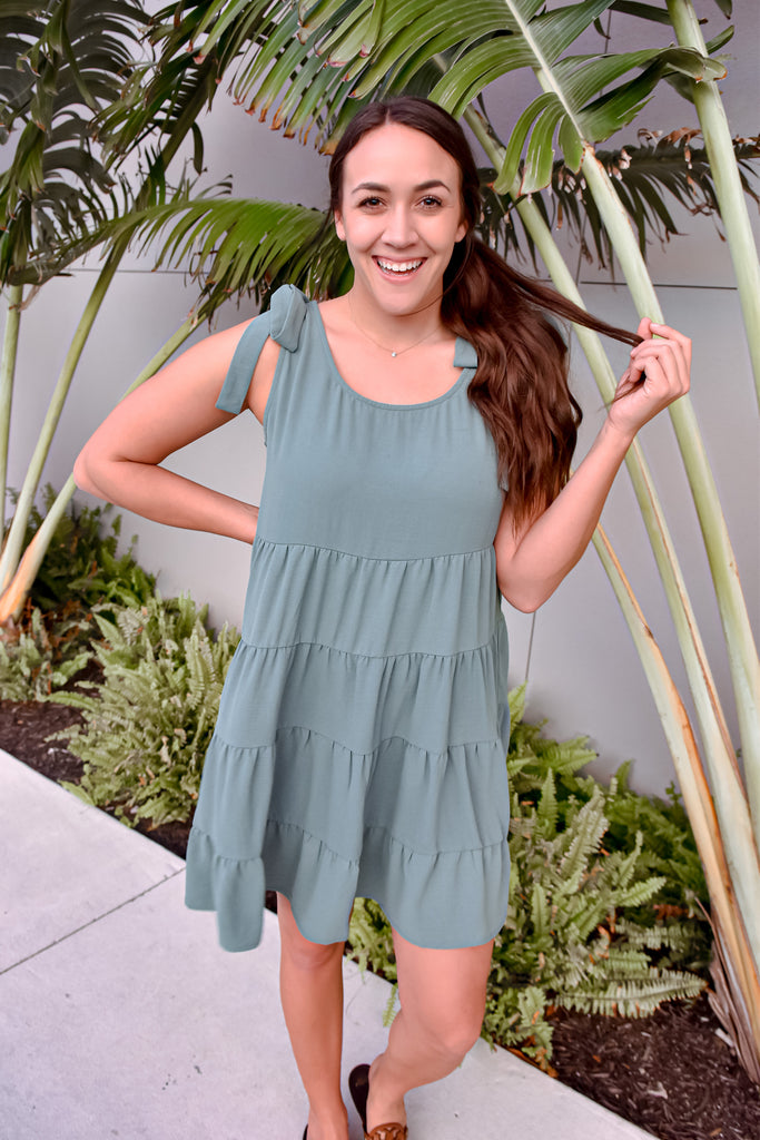 Twirl Me Up Dress with Tie Straps- Sage
