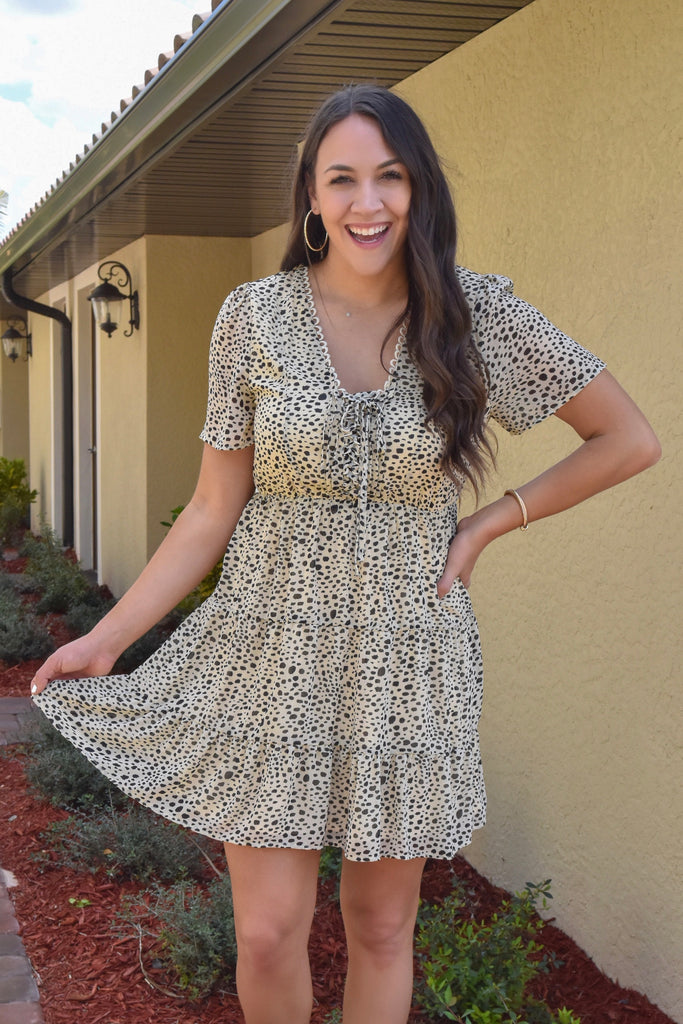 Leopard Lace Up Mini Dress