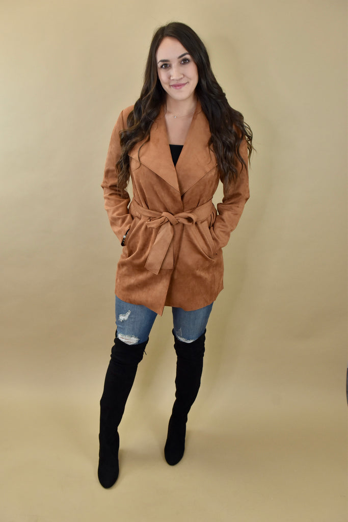 Crisp Air Cognac Suede Long Jacket