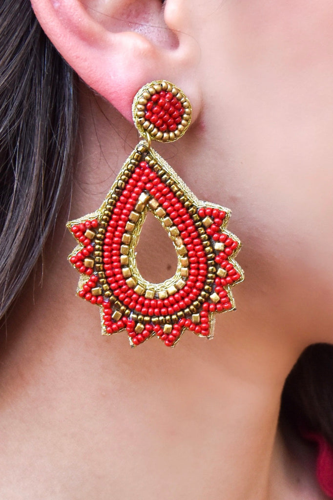 Great Gatsby Red & Gold Earring