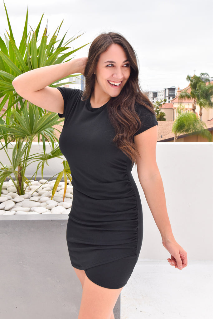 Hug Me Tight Ruched Dress- Black