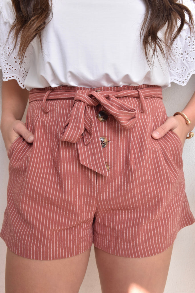 Softest Striped Paperbag Waist Shorts