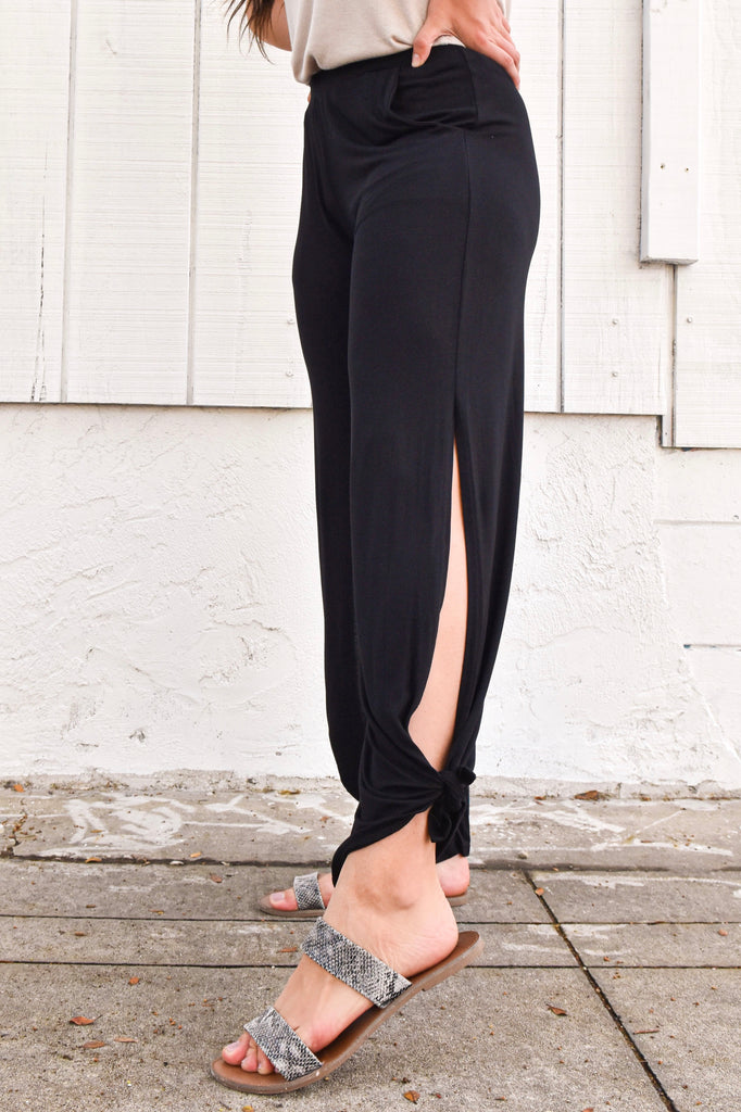 *RESTOCKED* Brave Black Split Side Pant