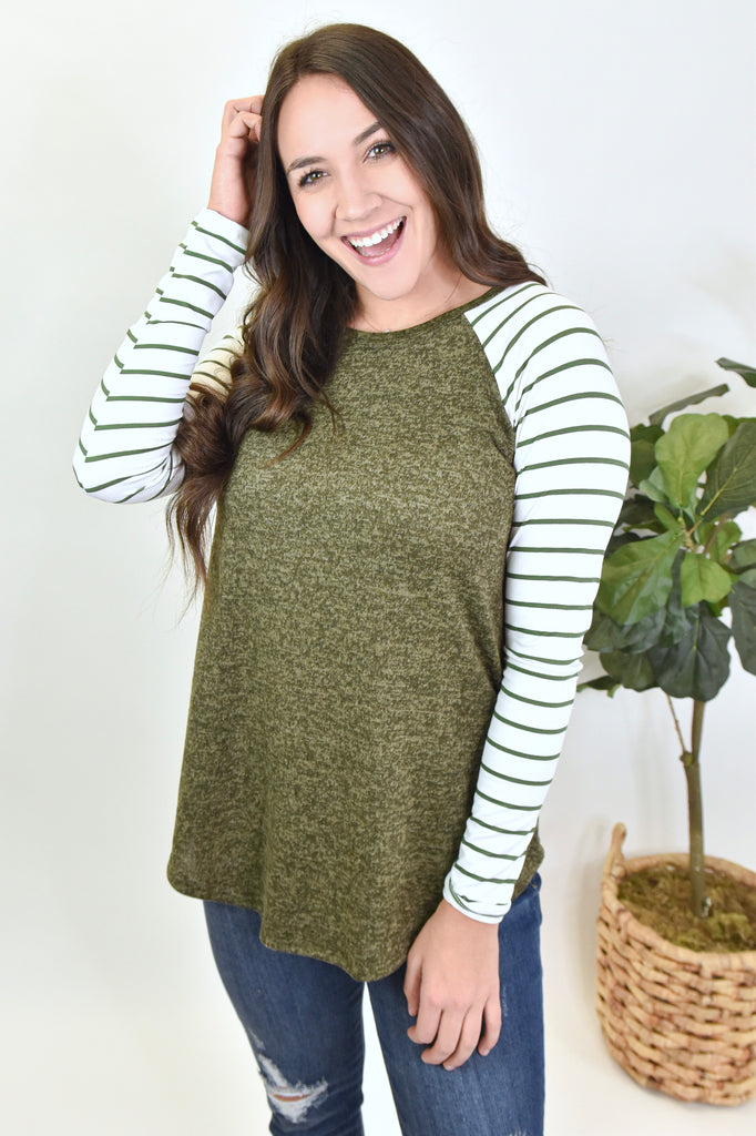 Just Have Fun With It Striped Long Sleeve- Olive