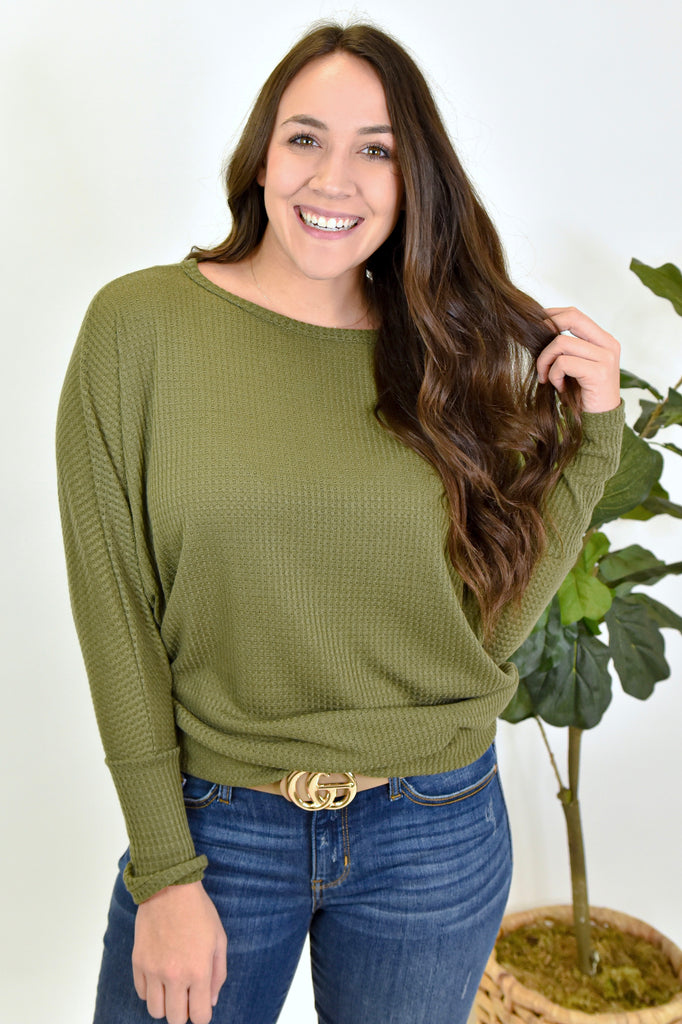 In Your Dreams Waffle Knit- Olive