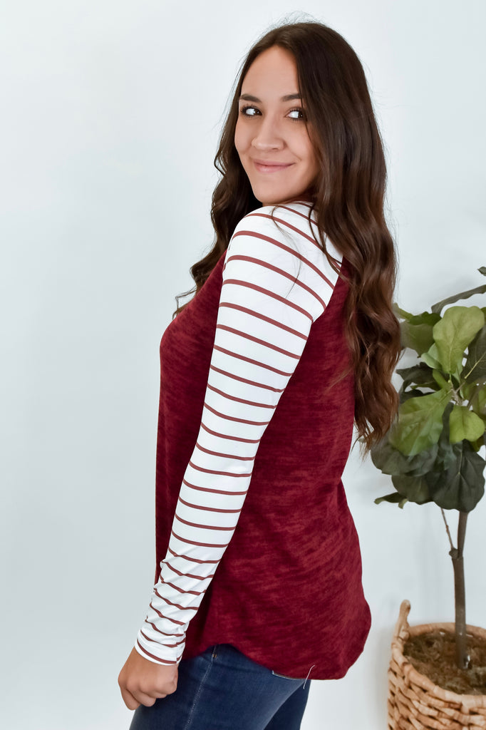 Just Have Fun With It Striped Long Sleeve- Wine