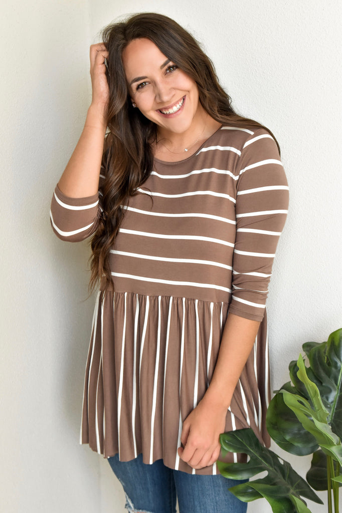 Amber Striped Babydoll Top - Mocha