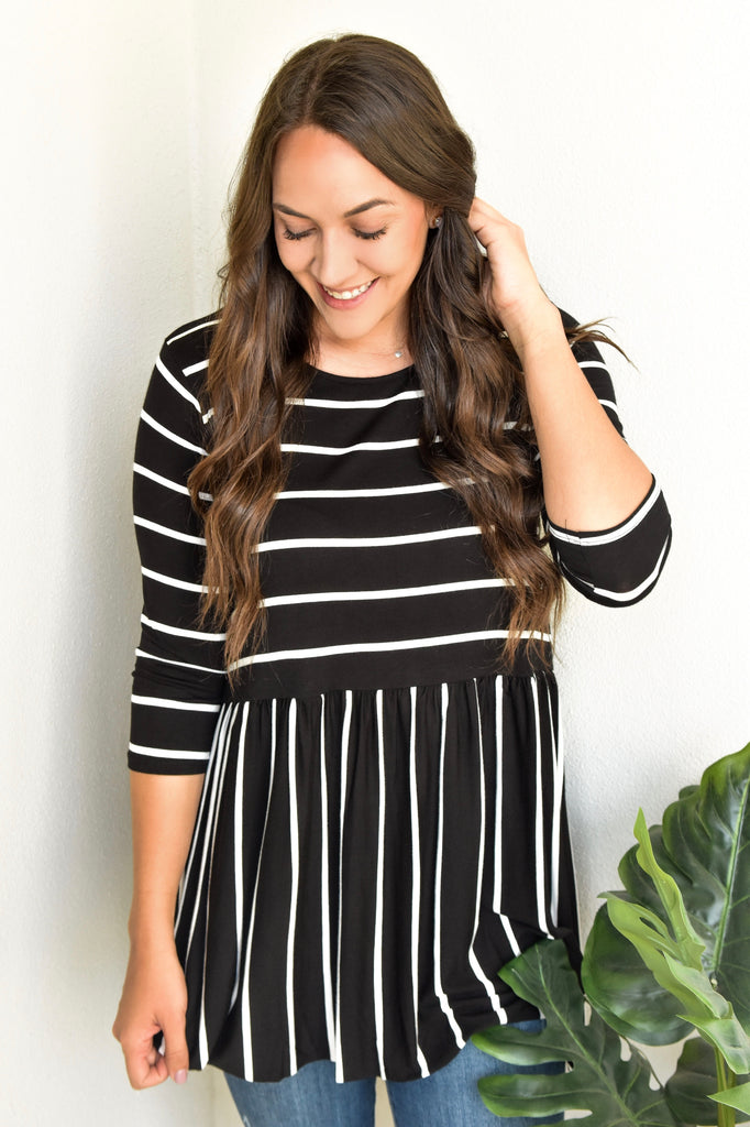 Amber Striped Babydoll Top - Black