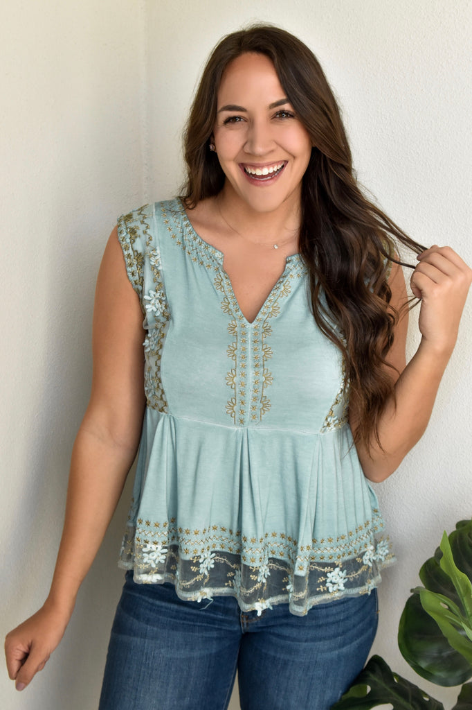 Sunset Lover Babydoll Tank- Emerald