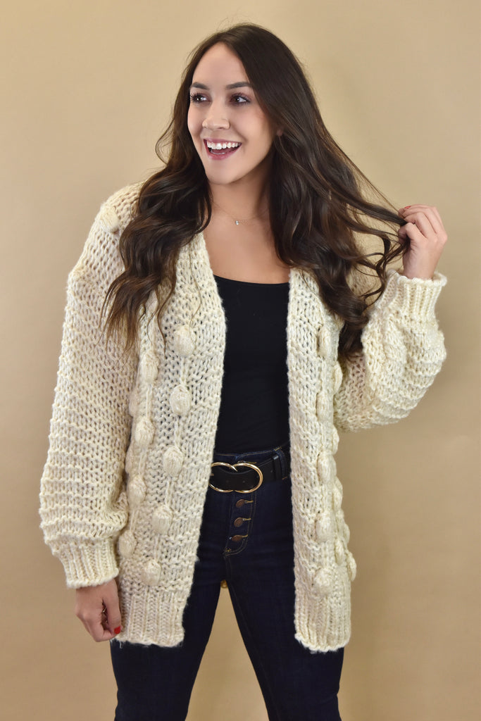 Cozied Up Knitted Ivory Cardigan