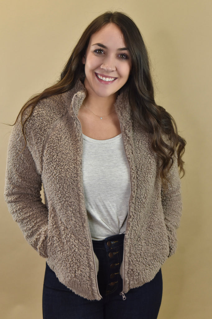 Mocha Zip Up Sherpa