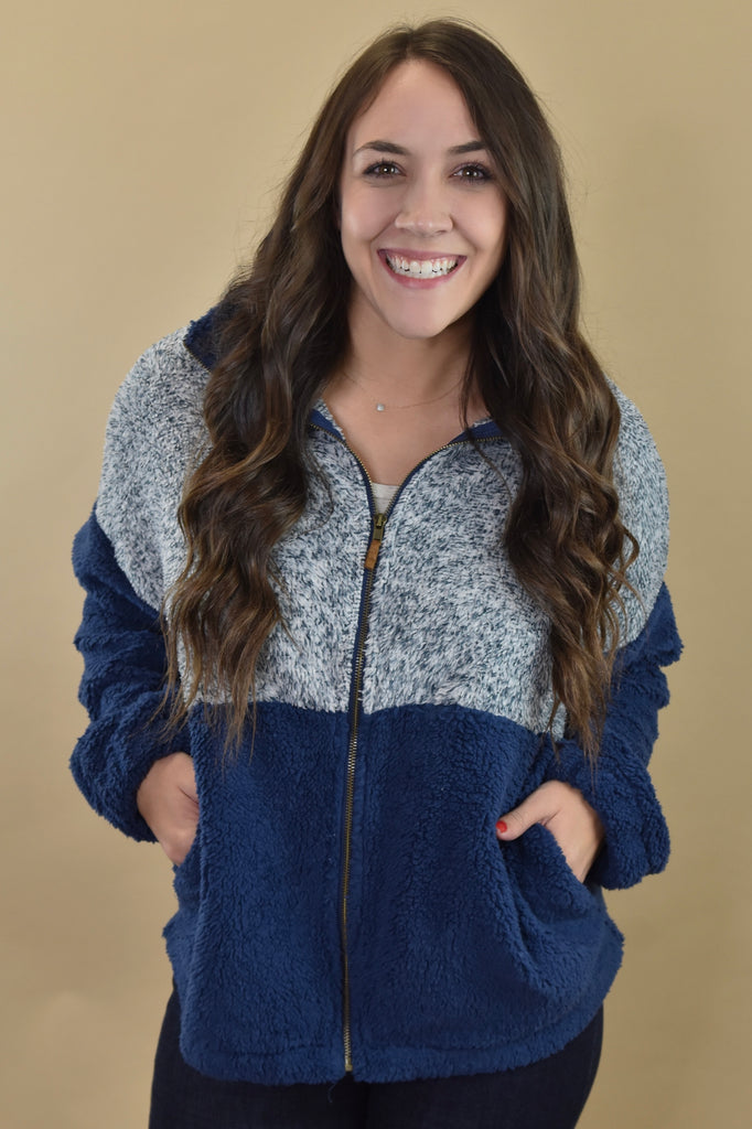 Navy Two-Tone Zip Up Sherpa