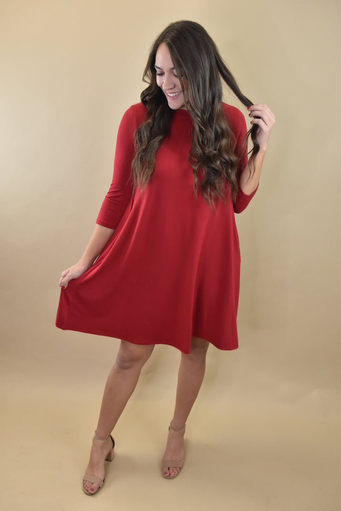Everyday Long Sleeve Pocket Dress- Red