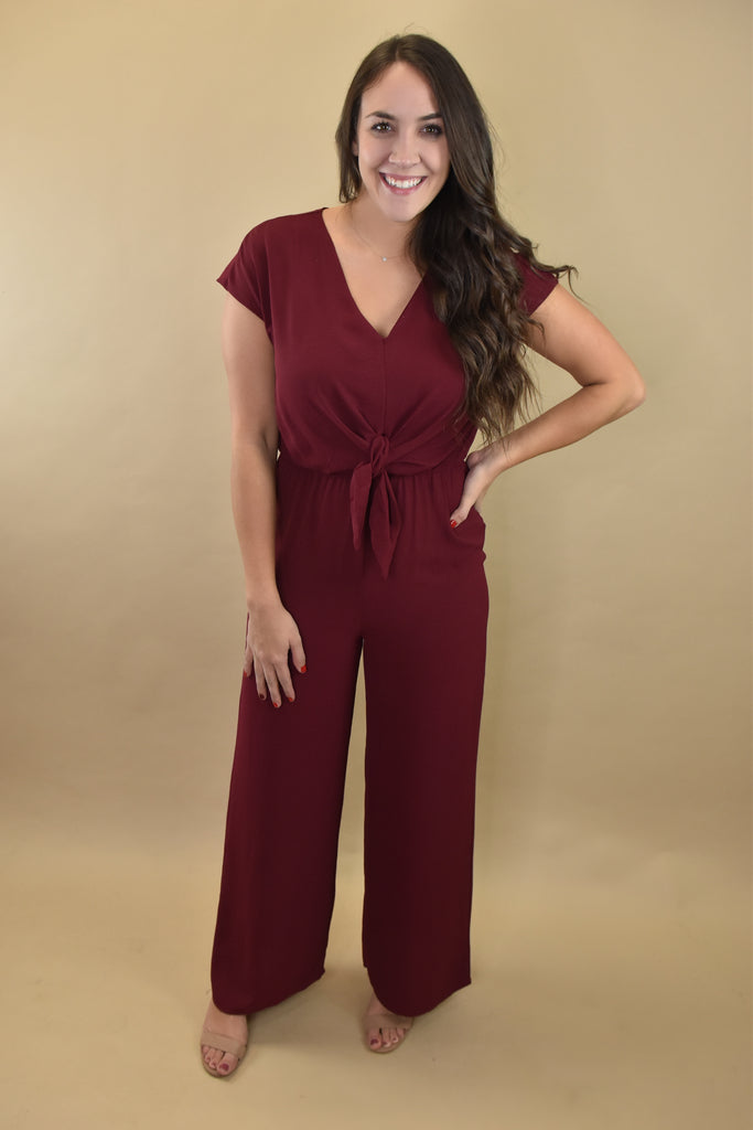 Wine O'Clock Jumpsuit with Tie