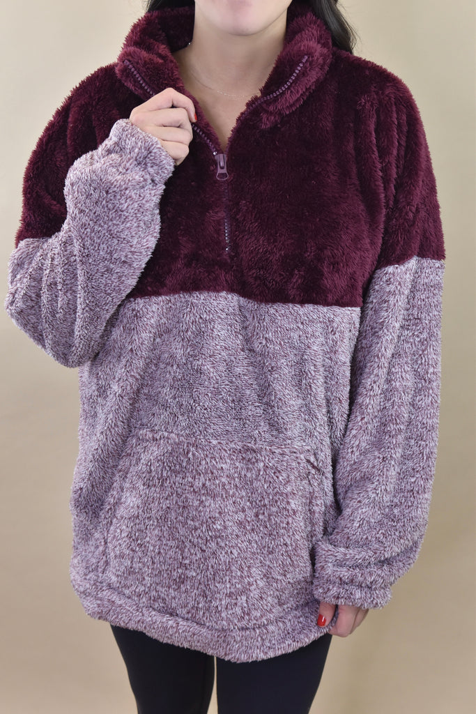 CURVY Dark Burgundy Two Tone Sherpa