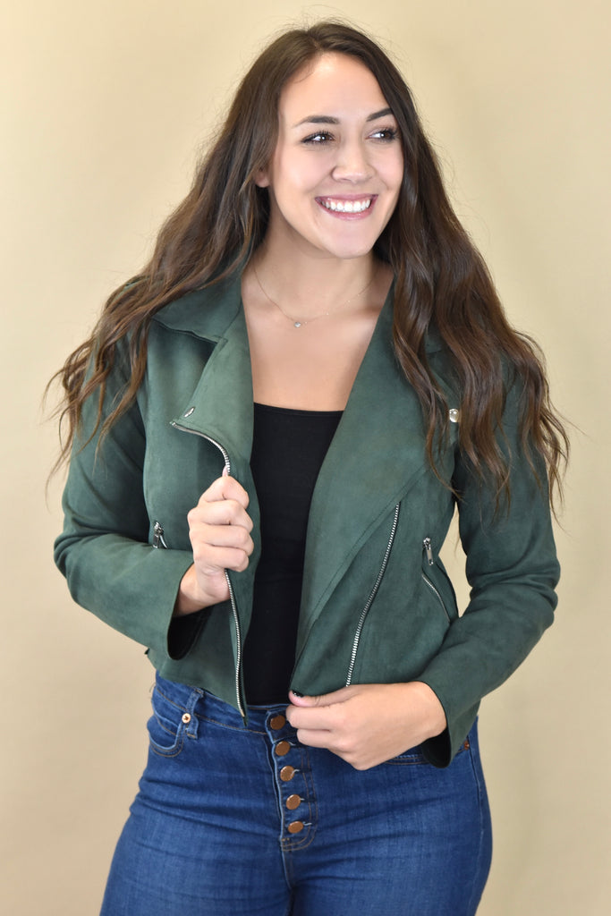 Suede Moto Jacket- Hunter Green