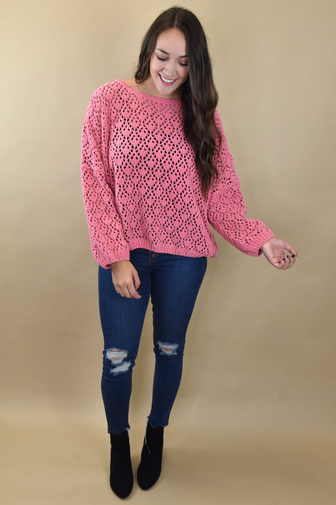 The Peyton Sweater- Bubblegum Pink