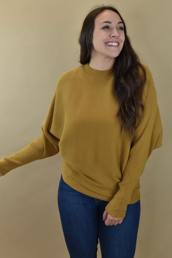 Ribbed Bat Sleeve Sweater- Biscotti