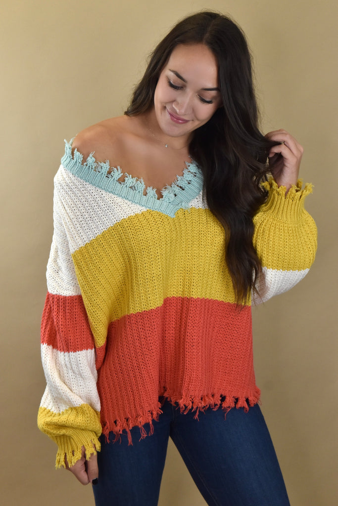 Colorblock Destroyed Sweater- Coral/Yellow