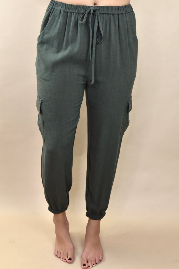 Janie High Waisted Jogger Pant- Olive
