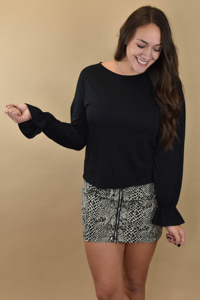 Dainty Ruffle Long Sleeve Top- Black